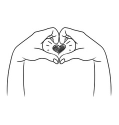 doodle hands up two hands making heart sign vector image