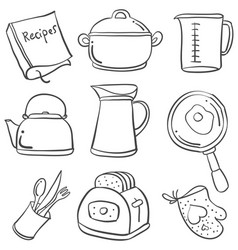 Doodle of kitchen set hand draw vector