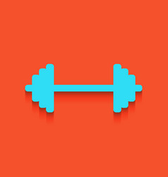 Dumbbell weights sign whitish icon on vector
