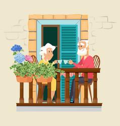 elderly couple on balcony neighborhood stay home vector image