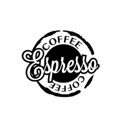 Espresso coffee stain badges black and White vector image