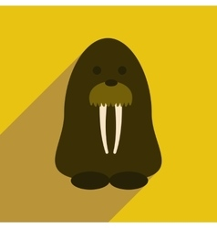 Flat web icon with long shadow walrus vector