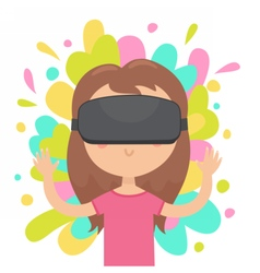 Girl in a virtual reality glasses vector image
