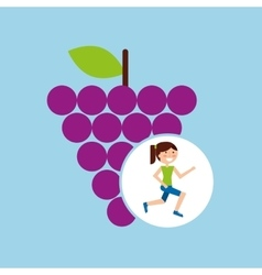 Girl jogger grape healthy lifestyle vector