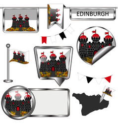 Glossy icons with flag of edinburgh vector