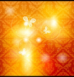Glowing Orange Floral Patterned Wallpaper with vector