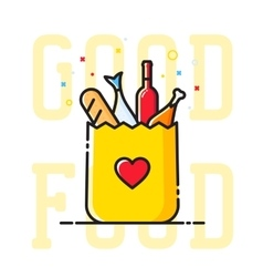 Good Food Paper Bag with Heart Symbol Bread Wine vector