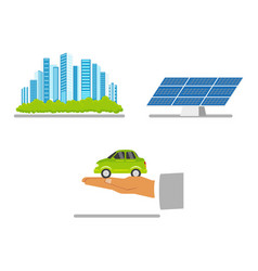 green city concept solar panel electric vehicle vector image