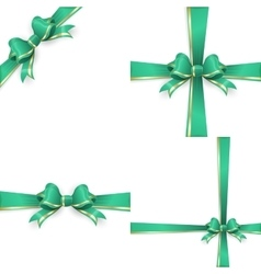 Green gold bow templates EPS 10 vector image