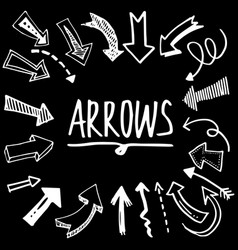 hand drawn arrow set doodle style vector image