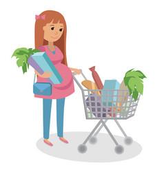 Happy pregnant woman pushing shopping cart full vector