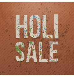 Holi Sale paper Text with color Stains vector