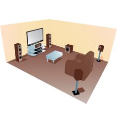 home cinema set up diagram vector image