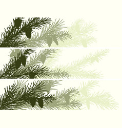 horizontal banner of spruce branch vector image