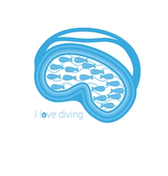 I love diving vector