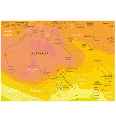imaginary weather map australia and new zealand vector image
