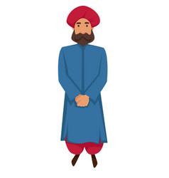 indian man in traditional clothing and turban vector image