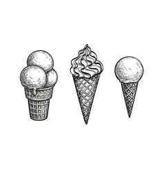 Ink sketch ice cream cones vector