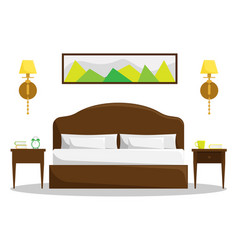 Isolated bedroom interior with double bed vector