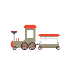 Kids cartoon gray toy train railroad toy vector