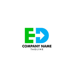 letter ed with arrow logo vector image