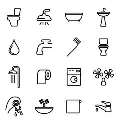 Line bathroom icon set vector