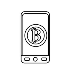 Line smartphone with bitcoin currency symbol vector