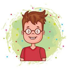 Little happy boy avatar character vector