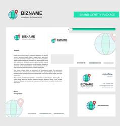 location on globe business letterhead envelope vector image