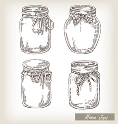mason jars set vector image