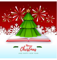 merry christmas greeting card with christmas tree vector image