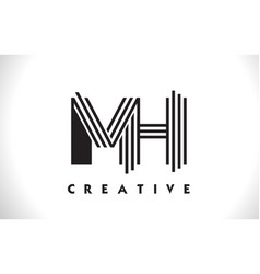 mh logo letter with black lines design line letter vector image