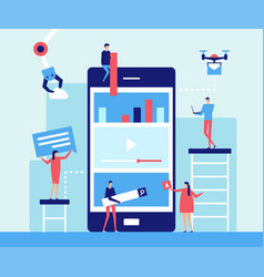 mobile app development - flat design style vector image