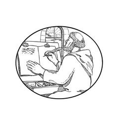 Monastic monk writing illuminated manuscript vector