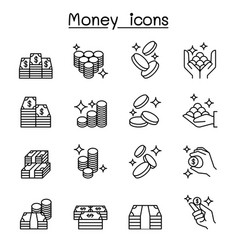 money cash coin bank note icon set in thin line vector image