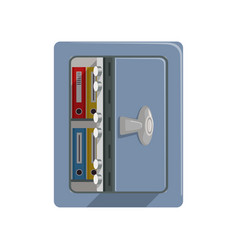 opened metal armored safe box safety business box vector image