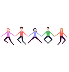 people holding hands in a jump vector image
