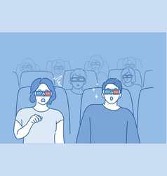 people watching movie concept vector image