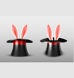 Rabbit ears stick out magician top hat cylinder vector
