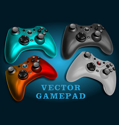 realistic colorful video game controller vector image