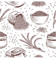 Rice seamless pattern hand drawn bowl with vector