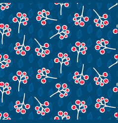 rowan berry seamless pattern on blue vector image