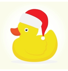 Rubber duck merry christmas vector image