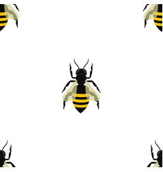 seamless pattern with bees in chess sequence on vector image