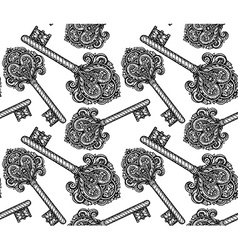 Seamless pattern with hand drawn keys vector