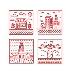 set city in trendy linear style vector image