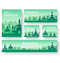 Set of bangkok landscape country ornament travel vector