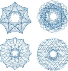 Set of four guilloche rosette vector