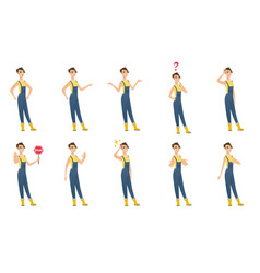 Set of of farmer characters vector