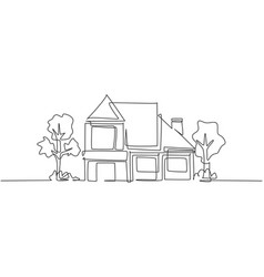 Single one line drawing eco friendly house vector